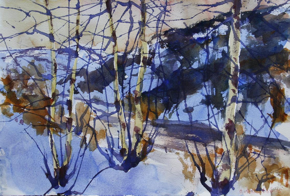 Vinter 12 Akvarell 38x56 cm 4000 ur
