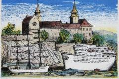 Akershus Litografi 9x13 cm 450 ur