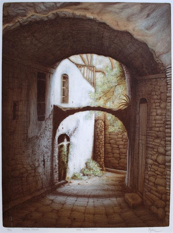 Arco - Bussana Vecchia Litografi (63,5x48 cm) kr 4000 ur