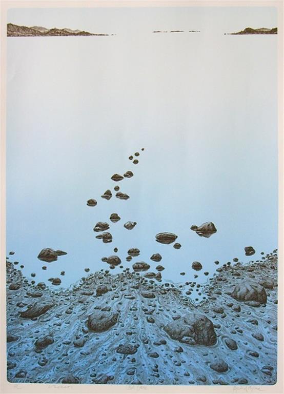 Blå fjære Litografi (70x50 cm) kr 4000 ur