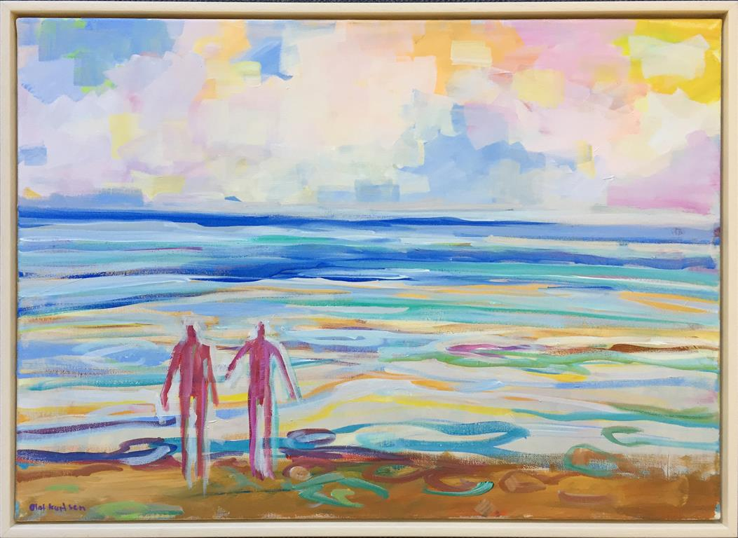 To på stranden Akrylmaleri (50x70 cm) kr 7000 mr