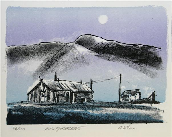 Austfjordneset Litografi 19x26 cm 1500 ur