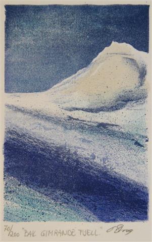 Bak gimrande fjell Litografi 15x10 cm 500 ur