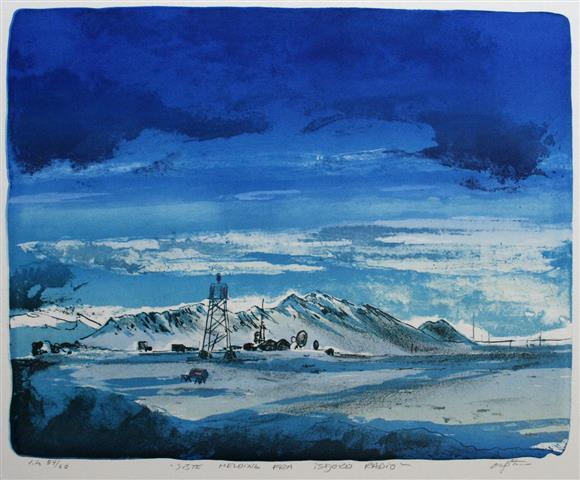 Siste melding fra Isfjord radio Litografi 43x54 cm 6000 ur