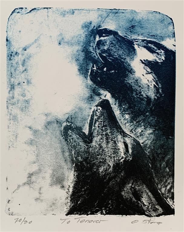 To tenor Litografi (23,5x19 cm) kr 2000 ur