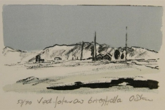 Ved foten av Grieg fjella Litografi 9x15 cm