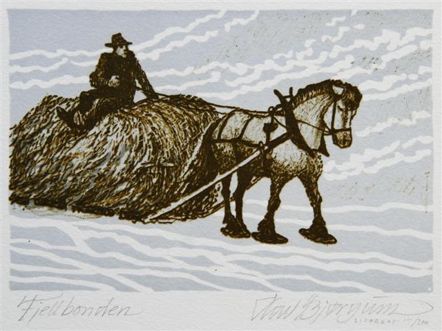 Fjellbonden Litografi 10x15cm 350,-kr u.r.