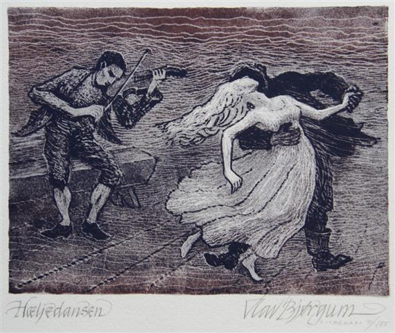 Haeijedansen Litografi 15x20cm 600,-kr u.r.