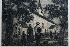 Ved Sauherad kirke Litografi 33x46cm 1250,-kr u.r.