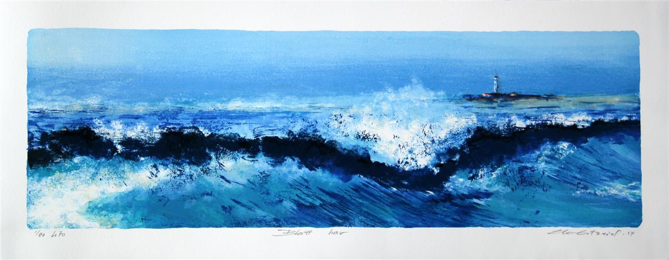 Blått hav Litografi (21x65 cm) kr 2800 ur