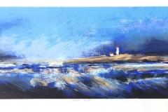 Blå kyst Litografi (29x86 cm) kr 3900 ur