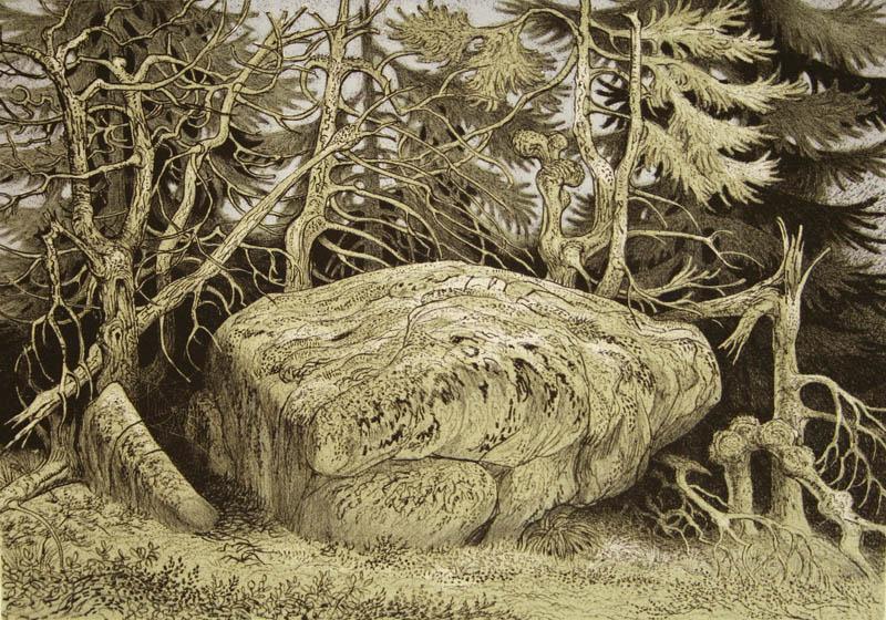 Den store steinen Litografi 25,5x36cm 2000,-kr u.r.