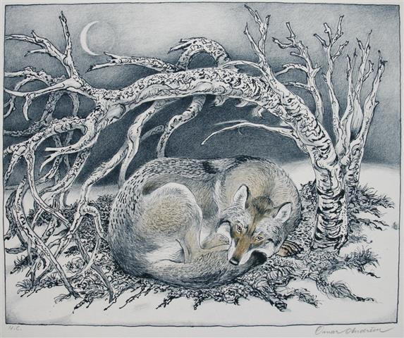 Ulven vaakner Litografi 25x31cm 1900,-kr u.r.