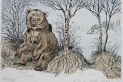 Bamse brakar Litografi 10x15cm 450,-kr u.r.