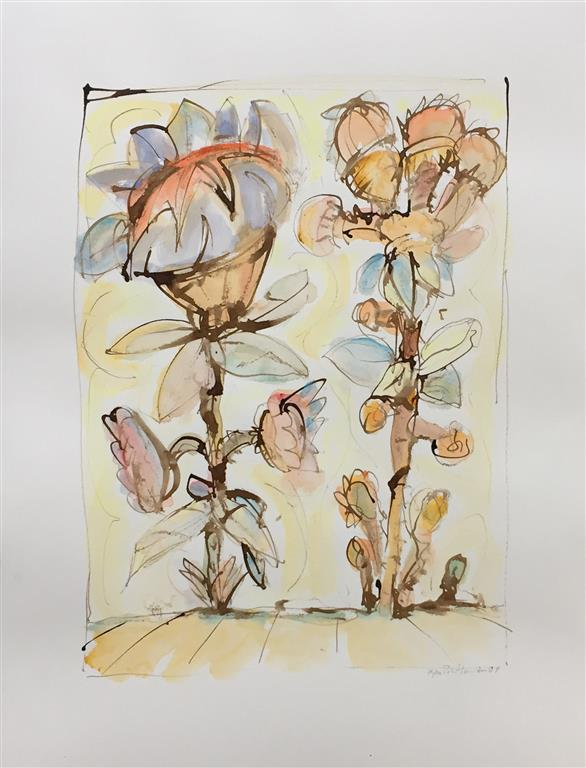 Store blomster I Akvarell (57x40 cm) kr 6000 ur