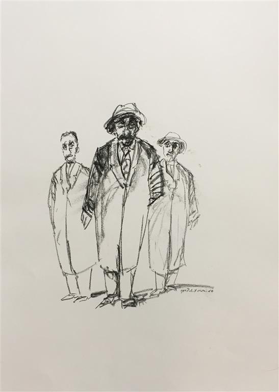 Tre kamerater Tegning (48x40 cm) kr 4000 ur