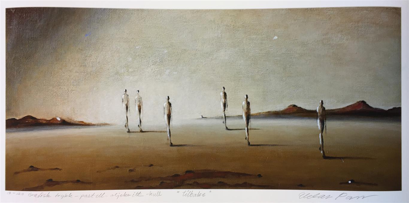 Tilbake Trykk pastell, oljekritt, kull (35x75 cm) kr 3800 ur