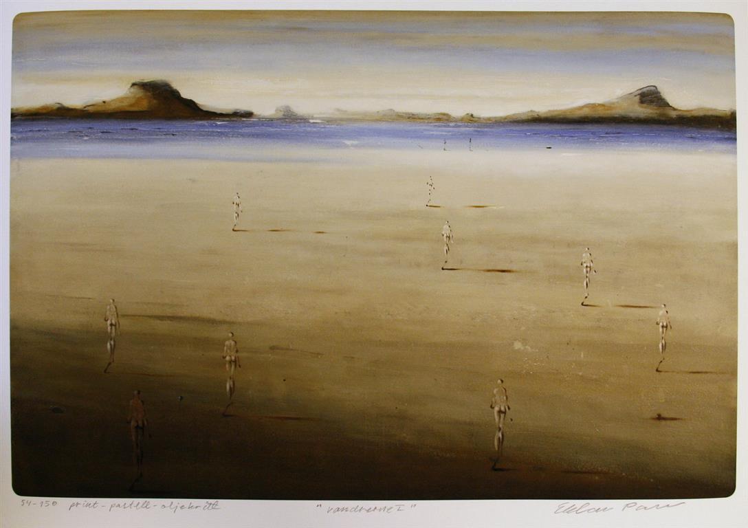 Vandrerne I Print, pastell, oljekritt (43x64,5 cm) kr 3600 ur