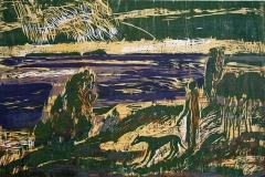 Ved havet Tresnitt 38x58 cm 2000,-kr u.r.
