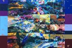 Sent på dagen Akrylmaleri (71x71 cm) kr 7000
