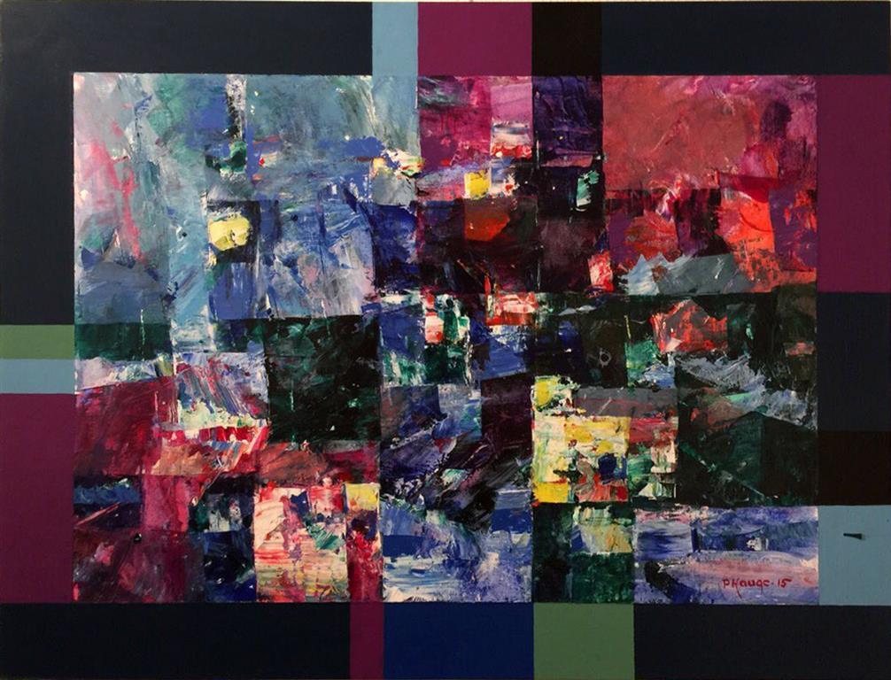 Bla dag - rosa kveld Akrylmaleri (54x71 cm) kr 6500