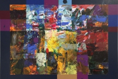 Gul aker Akrylmaleri (54x71 cm) kr 6500