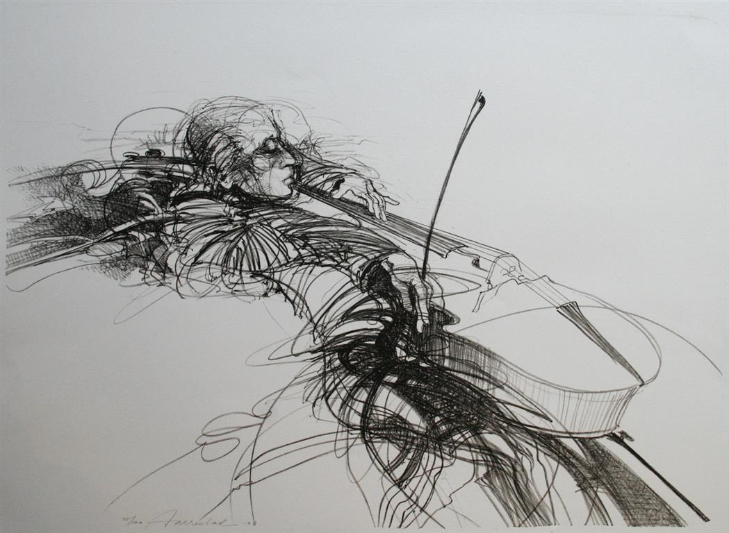 Cello-spiller Litografi 51x70 cm 2500 ur
