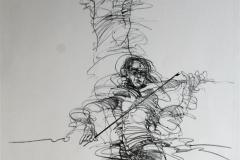 To fiolinister Litografi 70x51 cm 2500 ur