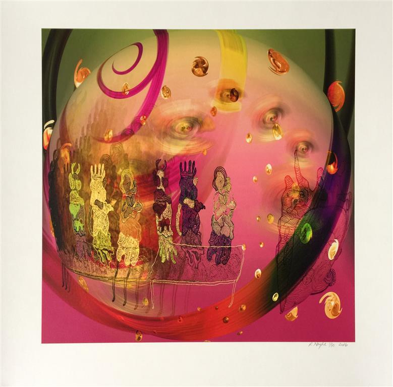 Garden of delights rosa Digigrafikk (45x45 cm) kr 4000 ur