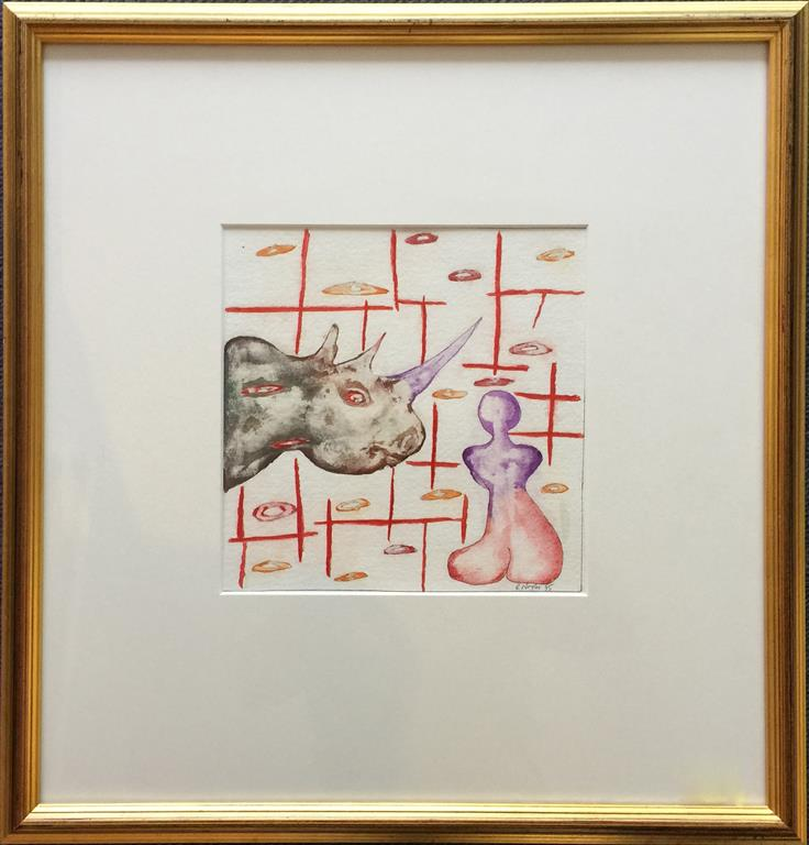 Rhino Akvarell (22x22 cm) kr 3800 mr