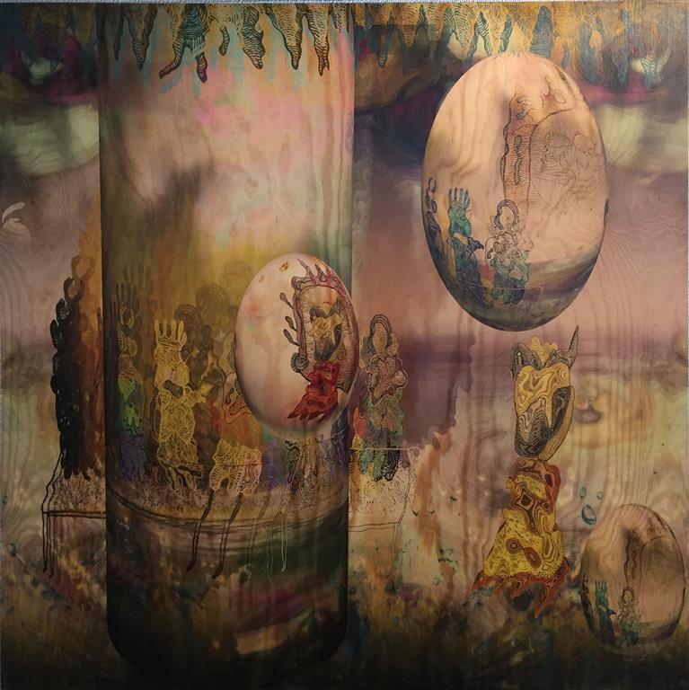 Garden of Delights (Bronze) Mixed Media on PlyWood 100x100 cm 15000 ur