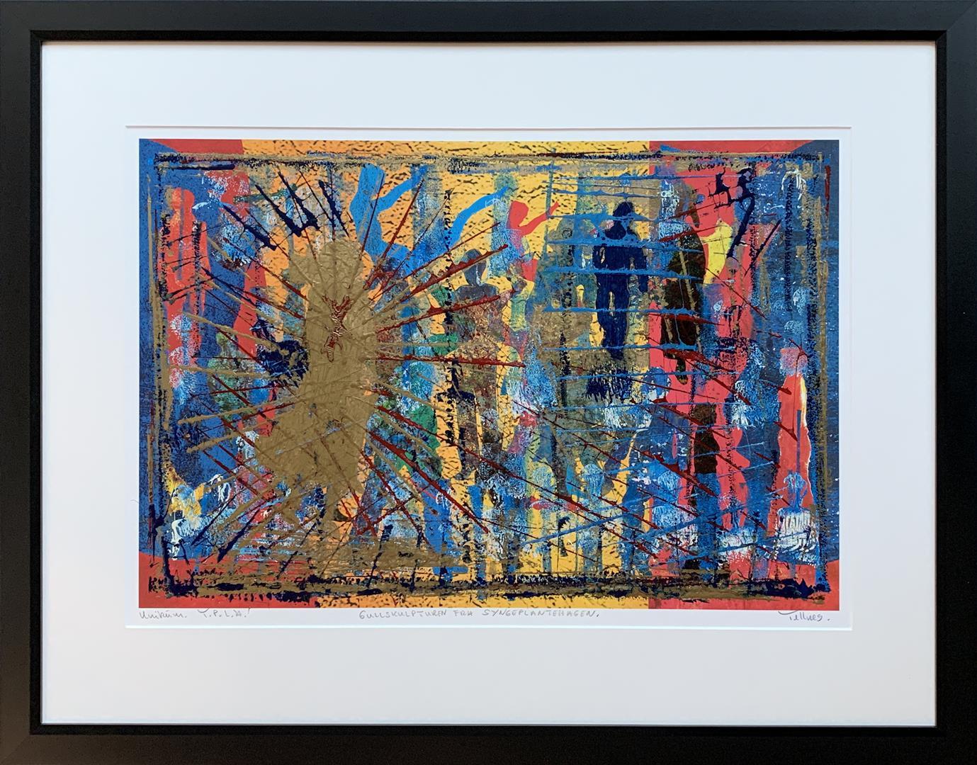 Gullskulpturen fra Syngeplantehagen Materialtrykk (41x62 cm) kr 9600 mr
