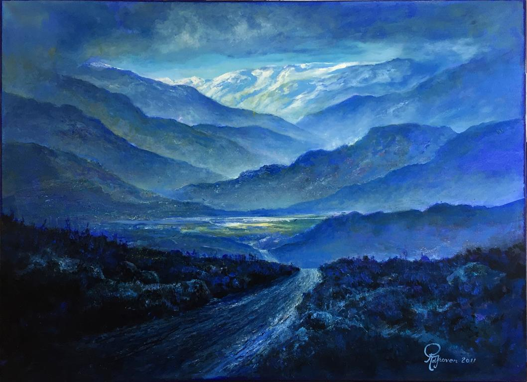 Blått landskap II Oljemaleri (90x125 cm)
