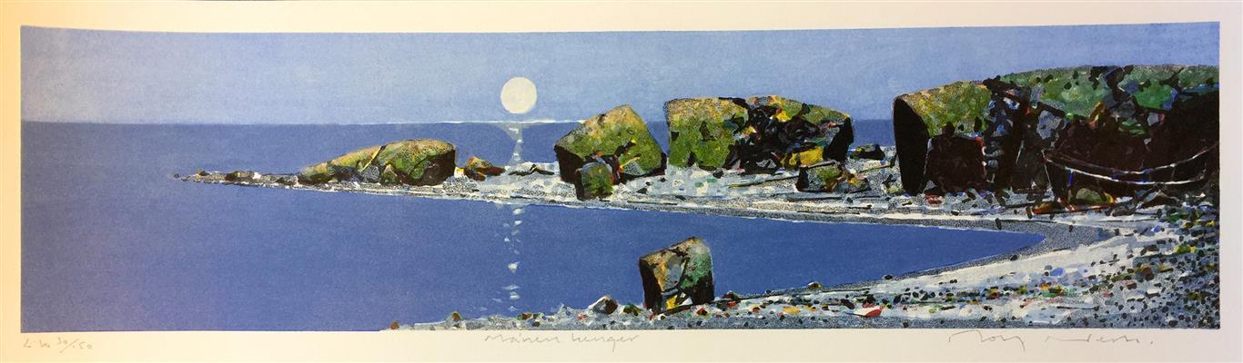 Månen henger Litografi (20x80 cm) kr 3200 ur