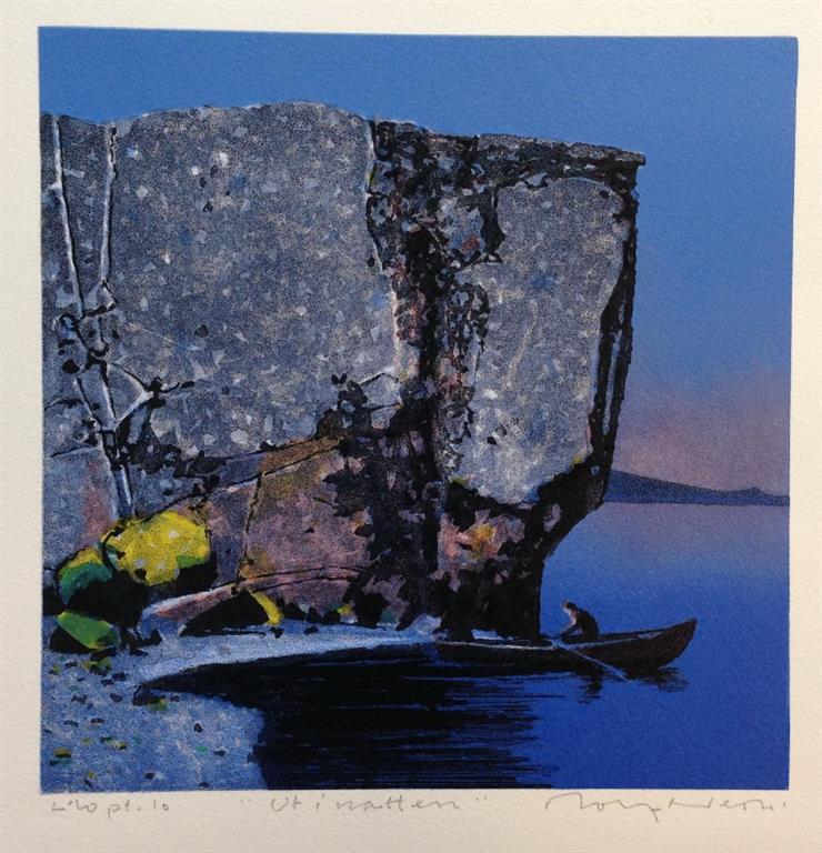 Ut i natten Litografi (24x24 cm) kr 2000 ur