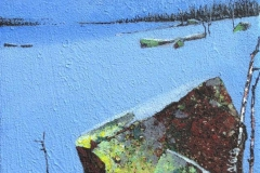 Sent i januar Akrylmaleri 27x22 cm 9000 mr