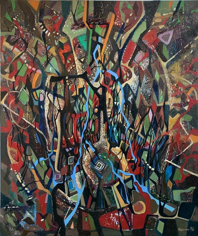 Abstrakt stilleben II Oljemaleri (120x100 cm) kr 22000 ur