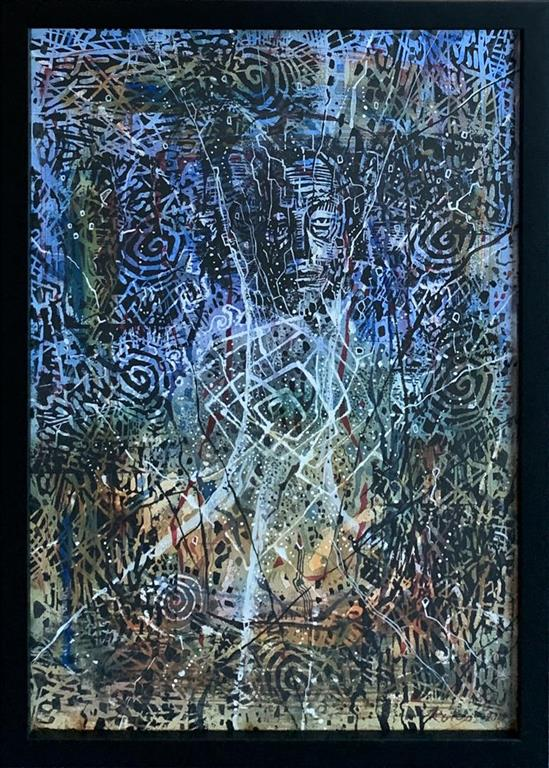 Etter en stund Blandet teknikk, akvarell, linosnitt (51x35 cm) kr 10000 mr