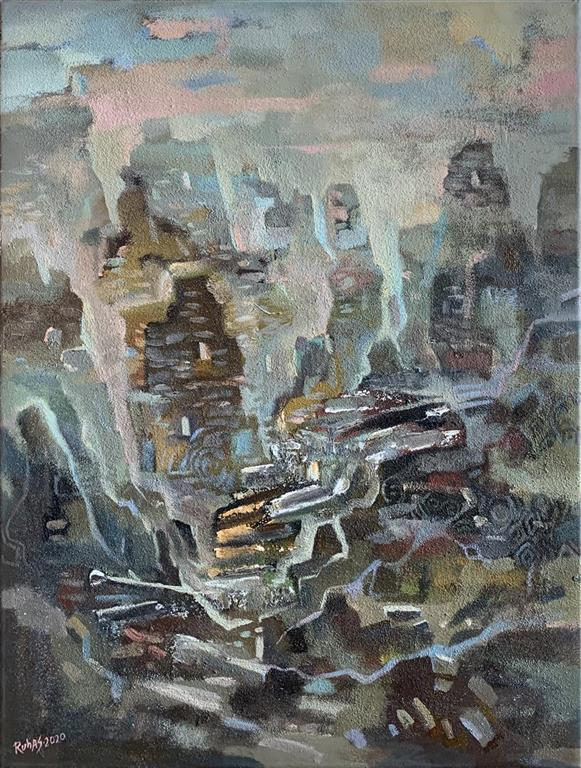 Gamle tsjetsjenske ruiner III Oljemaleri (80x59 cm) kr 10000 ur