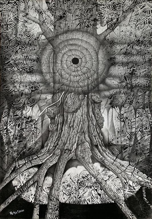 Livets kjerne Kullstift, blandet teknikk (105x70 cm) kr 14000 ur