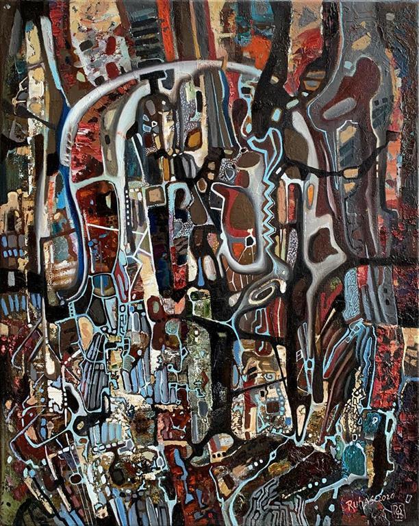 Metafysisk teppe II Oljemaleri (50x40 cm) kr 14000 ur