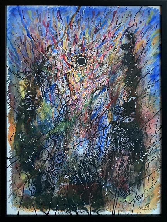 Rom I Blandet teknikk, akvarell, akryl, tusj (77x57 cm) kr 18000 mr