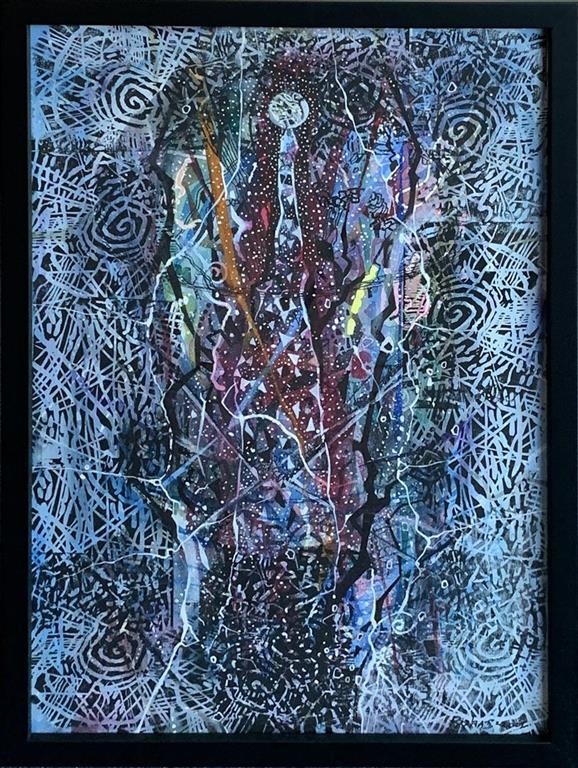 Rom II Blandet teknikk, akvarell, linosnitt, tusj (58x39 cm) kr 15000 mr