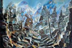 Gamle tsjetsjenske ruiner II Oljemaleri (50x70 cm) kr 10000 ur