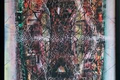 Mystisk tre Akvarell, akryl, linosnitt (77x57 cm) kr 20000 mr
