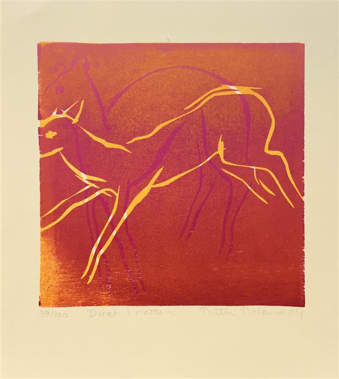 Dyret i natten Tresnitt (16x16 cm) kr 650 ur