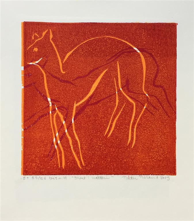 Dyret i natten Tresnitt Variant I (16x16 cm) kr 650 ur