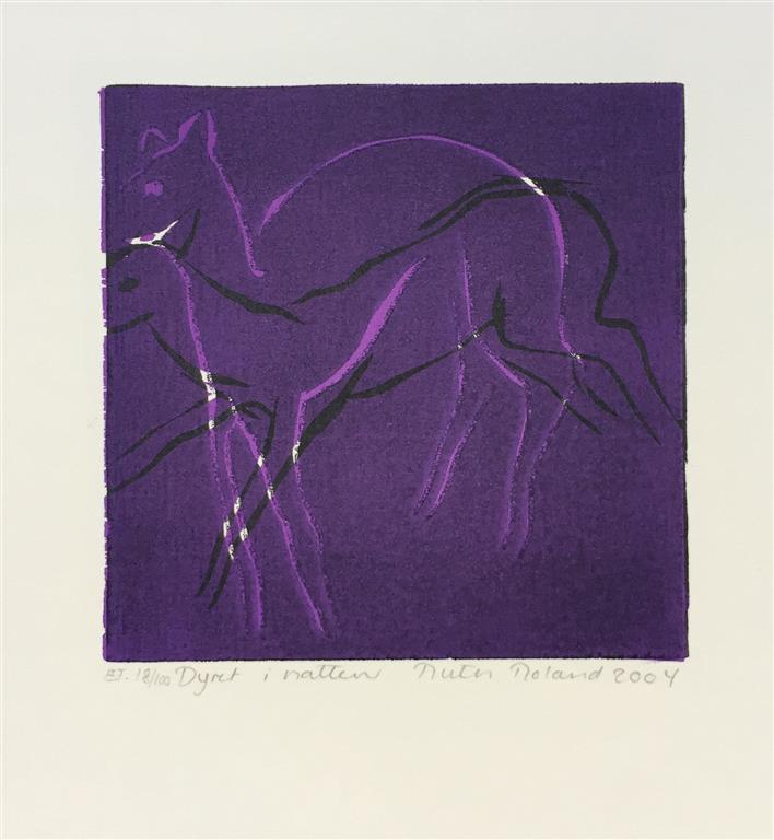 Dyret i natten Tresnitt Variant II (16x16 cm) kr 650 ur