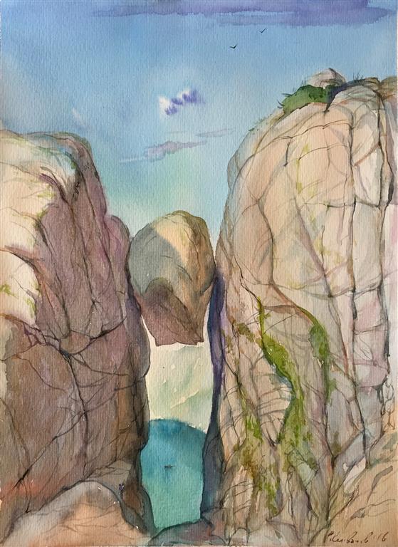 Kjærag. Akvarell (33x24,5 cm) kr 1000 ur