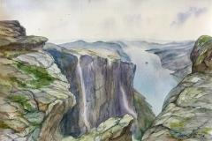 Lysefjorden. Akvarell (36x24,5 cm) kr 1100 ur